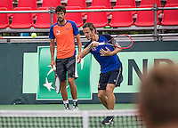 Moscow, Russia, 14 th July, 2016, Tennis,  Davis Cup Russia-Netherlands, Dutch team practise,  Wesley Koolhof, right and Robin Haase (NED)<br /> Photo: Henk Koster/tennisimages.com