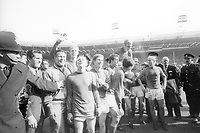 30th July 1966, Wembley Stadium, London, England; trainer Harold Shepherdson, Jack Charlton, Nobby Stiles, Alan Ball, Geoff Hurst, Martin Peters, Bobby Moore, George Cohen and Bobby Charlton celebrate winning the World Cup finalk against Germany 4-2<br /> <br /> <br /> <br /> England is World Champion v left National coach Harold Shepherdson 3 v left Jack Charlton Nobby Stiles Alan Ball Geoff Hurst Martin Peters Bobby Moore o George Cohen Bobby Charlton