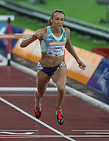 Jessica ENNIS HILL of GBR (Women's 100m Hurdles) crosses the line with a season best time of 12.79 during the Sainsburys Anniversary Games Athletics Event at the Olympic Park, London, England on 24 July 2015. Photo by Andy Rowland.