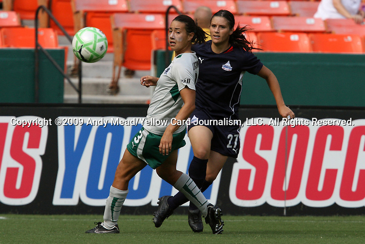 18 July 2009: Saint Louis' Stephanie Logterman (3) and Washington's Alex Singer (21). The Washington Freedom defeated Saint Louis Athletica 1-0 at the RFK Stadium in Washington, DC in a regular season Women's Professional Soccer game.