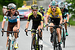 The lead group with Geraint Thomas (WAL) Yellow Jersey Team Sky, Adam Yates (GBR) Mitchelton-Scott and Romain Bardet (FRA) AG2R La Mondiale on the final climb during Stage 7 of the 2018 Criterium du Dauphine 2018 running 136km from Moutiers to Saint Gervais Mont Blanc, France. 10th June 2018.<br /> Picture: ASO/Alex Broadway | Cyclefile<br /> <br /> <br /> All photos usage must carry mandatory copyright credit (© Cyclefile | ASO/Alex Broadway)