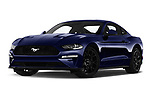 Stock pictures of low aggressive front three quarter view of a 2018 Ford Mustang Fastback Ecoboost 2 Door Coupe
