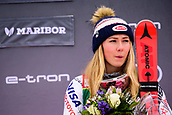 2nd February 2019, Maribor, Slovenia;  Mikaela Shiffrin of United States of America on the podium celebrating her victory at the Audi FIS Alpine Ski World Cup Women's Slalom Golden Fox on February 2, 2019 in Maribor, Slovenia