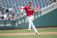 Louisville Cardinals second baseman Justin Lavey (16) makes a throw to first base during Game 7 of the NCAA College World Series against the Auburn Tigers on June 18, 2019 at TD Ameritrade Park in Omaha, Nebraska. Louisville defeated Auburn 5-3. (Andrew Woolley/Four Seam Images)
