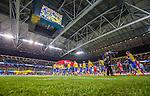 Solna 2014-10-12 Fotboll EM-kval , Sverige - Liechtenstein :  <br /> Vy &ouml;ver Friends Arena med publik , tomma stolar och &ouml;vre etage p&aring; l&auml;ktaren t&auml;ckt med ett draperi n&auml;r spelarna i Sverige och Liechtenstein g&ouml;r entr&eacute; p&aring; planen <br /> (Photo: Kenta J&ouml;nsson) Keywords:  Sweden Sverige Friends Arena EM Kval EM-kval UEFA Euro European 2016 Qualifying Group Grupp G Liechtenstein supporter fans publik supporters inomhus interi&ouml;r interior