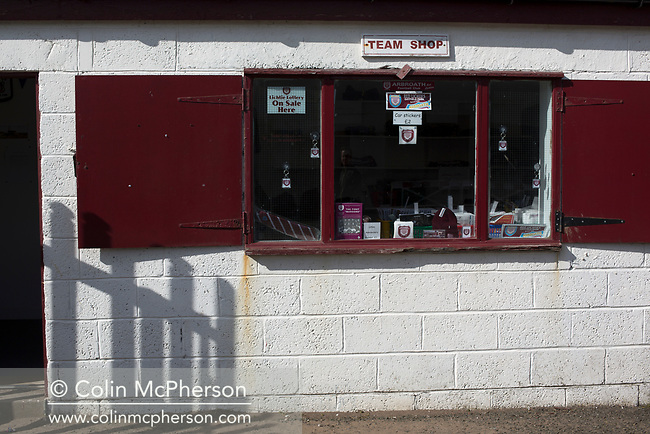 The deserted club shop at Gayfield Park as Arbroath hosted Edinburgh City (in yellow) in an SPFL League 2 fixture. The newly-promoted side from the Capital were looking to secure their place in SPFL League 2 after promotion from the Lowland League the previous season. They won the match 1-0 with an injury time goal watched by 775 spectators to keep them 4 points clear of bottom spot with three further games to play.