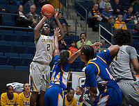 Afure Jemerigbe of California shoots the ball during the game against Bakersfield at Haas Pavilion in Berkeley, California on December 15th, 2013.  California defeated Bakersfield Roadrunners, 70-51.