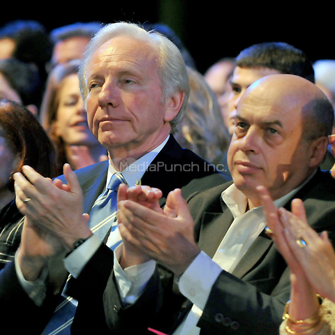 Washington, D.C. - June 2, 2008 -- United States Senator Joseph Lieberman (Independent Democrat of Connecticut), left, and Natan Schransky, a former member of the Israeli Knesset, right, applaud as United States Senator John McCain (Republican of Arizona), the presumptive 2008 Republican nominee for President of the United States, speaks at the American Israel Public Affairs Committee (AIPAC) annual Policy Conference in Washington, D.C. on Monday, June 2, 2008.  In his remarks, Senator McCain reaffirmed his solid support for the State of Israel..Credit: Ron Sachs / CNP/MediaPunch