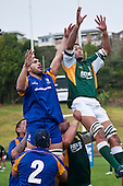 Peter Mata & Tai Marsters compete for lineout ball. Oceania Cup & RWC Qualifier rugby game between the Cook Islands & Niue played at Growers Stadium, Pukekohe, on Saturday 27th June 2009. The Cook Islands won 29 - 7 after leading 9 - 7 at halftime.