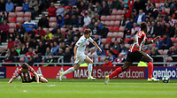 Tom Carroll of Swansea City (C) gets past two SUnderland players during the Premier League match between Sunderland and Swansea City at the Stadium of Light, Sunderland, England, UK. Saturday 13 May 2017