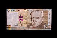 Peru, Cusco.  Twenty Nuevo Soles Banknote Showing Raul Porras Barrenechea, Historian, Professor, and Diplomat.