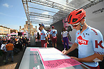 Team Katusha Alpecin at sign on before Stage 11 of the 2019 Giro d'Italia, running 221km from Carpi to Novi Ligure, Italy. 22nd May 2019<br /> Picture: Massimo Paolone/LaPresse | Cyclefile<br /> <br /> All photos usage must carry mandatory copyright credit (© Cyclefile | Massimo Paolone/LaPresse)