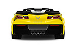 Straight rear view of 2018 Chevrolet Corvette Grand-Sport-3LT 2 Door Convertible Rear View  stock images