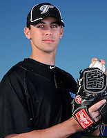 March 1, 2010:  Pitcher Brad Mills (59) of the Toronto Blue Jays poses for a photo during media day at Englebert Complex in Dunedin, FL.  Photo By Mike Janes/Four Seam Images