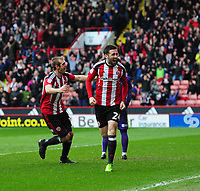 Sheffield United's Danny Lafferty, right, celebrates scoring his sides second goal <br /> <br /> Photographer Chris Vaughan/CameraSport<br /> <br /> The EFL Sky Bet League One - Sheffield United v Charlton Athletic - Saturday 18th March 2017 - Bramall Lane - Sheffield<br /> <br /> World Copyright &copy; 2017 CameraSport. All rights reserved. 43 Linden Ave. Countesthorpe. Leicester. England. LE8 5PG - Tel: +44 (0) 116 277 4147 - admin@camerasport.com - www.camerasport.com