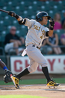 Salt Lake Bees second baseman Alexi Amarista #4 swings during a Pacific Coast League game against the Round Rock Express at The Dell Diamond in Round Rock, Texas on August 6, 2011. Round Rock defeated Salt Lake 3-1.  (Andrew Woolley/Four Seam Images)