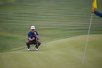 Charley Hoffman (USA) lines up his putt on 9 during Round 2 of the Valero Texas Open, AT&T Oaks Course, TPC San Antonio, San Antonio, Texas, USA. 4/20/2018.<br /> Picture: Golffile | Ken Murray<br /> <br /> <br /> All photo usage must carry mandatory copyright credit (© Golffile | Ken Murray)