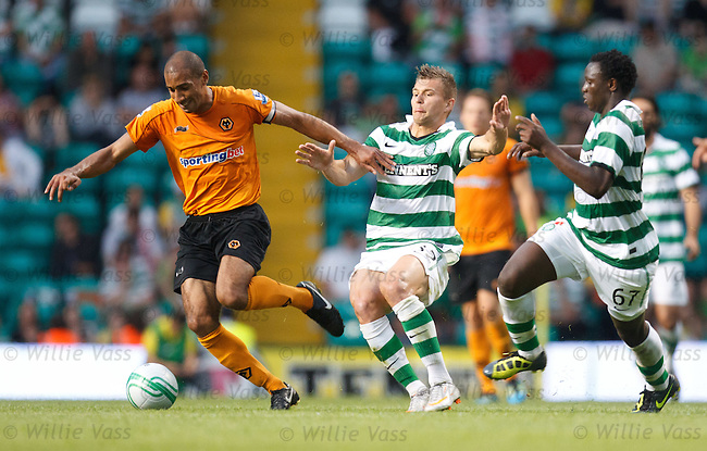 Karl Henry gets away from Milos Lacny and Victor Wanyama