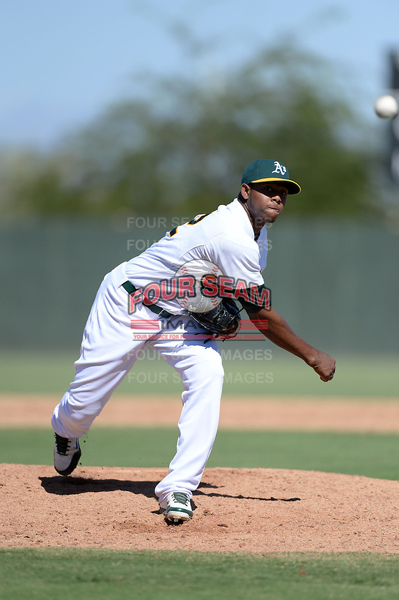 Oakland Athletics pitcher Carlos Navas (52) during an instructional league game against the San Francisco Giants on September 27, 2013 at Papago Park Baseball Complex in Phoenix, Arizona.  (Mike Janes/Four Seam Images)