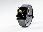 Apple Watch smartwatch with analog clock dial on display on white background