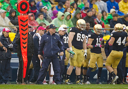 October 13, 2012:  Notre Dame head coach Brian Kelly  during NCAA Football game action between the Notre Dame Fighting Irish and the Stanford Cardinal at Notre Dame Stadium in South Bend, Indiana.  Notre Dame defeated Stanford 20-13.
