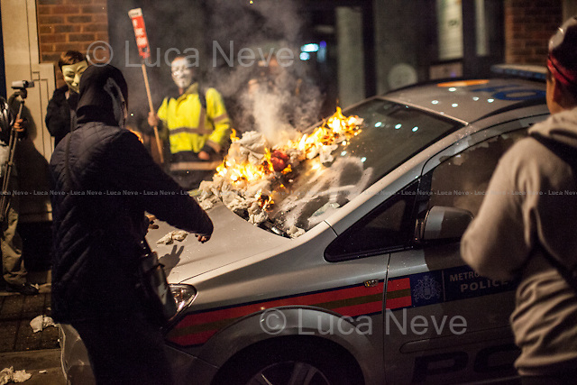 Queen Anne's Gate - Police car on fire.<br />