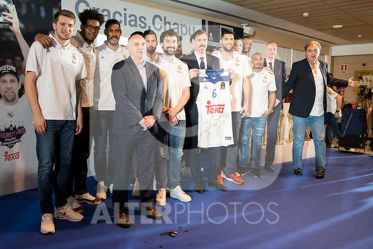 "Andres ""El Chapu"" Nocioni with his Real Madrid's partners during the appearance of retirement as profesional basketball player at Stadium Santiago Bernabeu in Madrid, Spain. April 04, 2017. (ALTERPHOTOS/BorjaB.Hojas)"