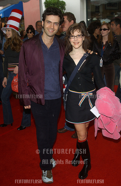 Actor DWEEZIL ZAPPA & wife actress LISA LOEB at the world premiere, in Hollywood, of Dr. Suess' The Cat in the Hat..November 8, 2003