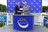 Trainer of Dark Lady, Richard Hannon receives his trophy for winning The Shadwell Dick Poole Fillies' Stakes during Racing at Salisbury Racecourse on 5th September 2019