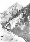View of RGS Bridges 46-E &amp; 46-F.  46-F has a truss configuration.  Ophir Needle is on skyline.<br /> RGS  Ophir Loop, CO  Taken by Jackson, William Henry