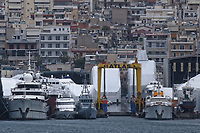 Border Control vessel HMC Valiant (3rd L) by a shipyard in the Perama area of Piraeus, Greece. Thursday 03 January 2019