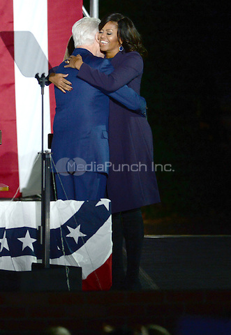PHILADELPHIA, PA - NOVEMBER 7: First Lady, Michelle Obama and Bill Clinton at the GOTV Rally in support of Hillary Clinton for President at Independence Mall in Philadelphia, Pennsylvania on November 7, 2016. Credit: Dennis Van Tine/MediaPunch