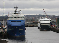 General view of Aberdeen harbour Albert Quay with Brage Supplier docked on the left and other supply ships on the right.