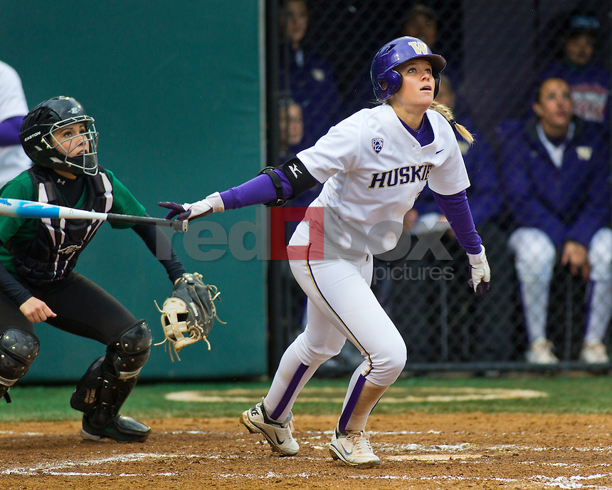 Marki Creger-Zier..--------Washington Huskies softball team versus North Dakota at UW on Saturday, March 10, 2012. (Photo by Dan DeLong/Red Box Pictures)
