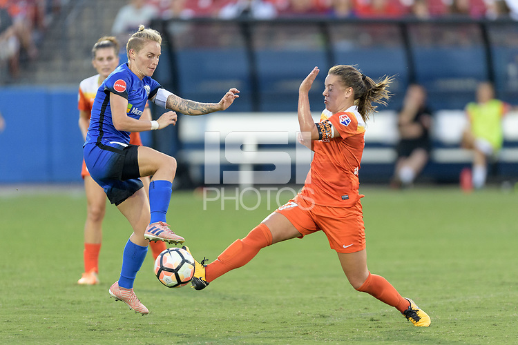 "Frisco, TX - Sunday September 03, 2017: Jess Fishlock and Andressa Cavalari Machry ""Andressinha"" during a regular season National Women's Soccer League (NWSL) match between the Houston Dash and the Seattle Reign FC at Toyota Stadium in Frisco Texas. The match was moved to Toyota Stadium in Frisco Texas due to Hurricane Harvey hitting Houston Texas."