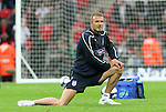 28 May 2008: David Beckham (ENG) stretches before the game. The England Men's National Team defeated the United States Men's National Team 2-0 at Wembley Stadium in London, England in an international friendly soccer match.