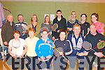 Listowel Badminton Tournament : Kerry players who took part in the Listowel Badminton Tournament that was held in the Listowel Community Centre on Saturday & Sunday last. Front : Mary Flahive, Marian Kennedy, Jennifer Keane, Peggy Horan , Tom Clear & Tom Rice. Back : Junior Griffin , Organiser, Sean Foley, Aidan McConville, Margaret Healy, Mark Clear, Michael Crossan, Helen Twomey & Elaine Hudson