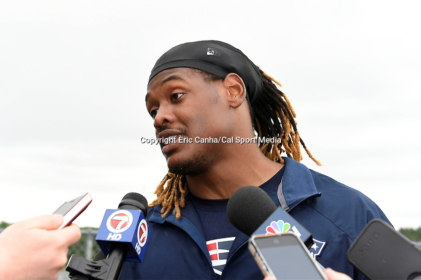 June 12, 2014 - Foxborough, Massachusetts, U.S. -  New England Patriots outside linebacker Dont'a Hightower (54)  takes questions from the media at the team's organized team activity at Gillette Stadium in Foxborough, Massachusetts. Eric Canha/CSM