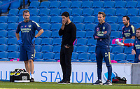 20th June 2020, American Express Stadium, Brighton, Sussex, England; Premier League football, Brighton versus Arsenal ;  Arsenals manager Mikel Arteta reacts to going behind in the 95th minute to a goal from Maupay