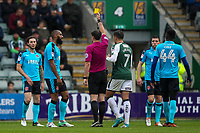 Fleetwood Town's  Nathan Pond receives a yellow card from Referee Craig Hicks <br /> <br /> Photographer Andrew Kearns/CameraSport<br /> <br /> The EFL Sky Bet League One - Plymouth Argyle v Fleetwood Town - Saturday 7th October 2017 - Home Park - Plymouth<br /> <br /> World Copyright &copy; 2017 CameraSport. All rights reserved. 43 Linden Ave. Countesthorpe. Leicester. England. LE8 5PG - Tel: +44 (0) 116 277 4147 - admin@camerasport.com - www.camerasport.com