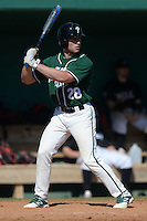 Plymouth State Panthers Zach Brandt (28) during the first game of a doubleheader against the Edgewood Eagles on March 17, 2015 at Terry Park in Fort Myers, Florida.  Edgewood defeated Plymouth State 12-3.  (Mike Janes/Four Seam Images)