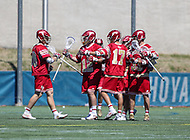 Washington, DC - March 31, 2018: Denver Pioneers celebrate after a goal during game between Denver and Georgetown at  Cooper Field in Washington, DC.   (Photo by Elliott Brown/Media Images International)