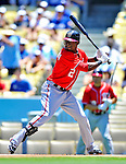 24 July 2011: Washington Nationals outfielder Roger Bernadina in action against the Los Angeles Dodgers at Dodger Stadium in Los Angeles, California. The Dodgers defeated the Nationals 3-1 to take the rubber match of their three game series. Mandatory Credit: Ed Wolfstein Photo