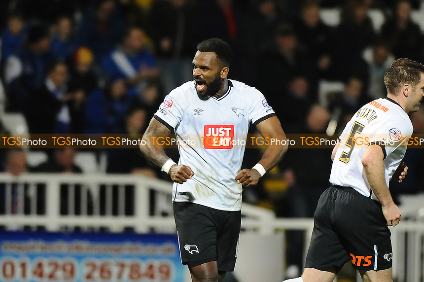 Darren Bent of Derby County celebrates scoring Derby County's second goal during Hartlepool United vs Derby County at Victoria Park