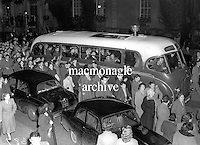The Sam maguire cup aloft on the team bus after the team's homecoming at Kilalrney railway Station after the 1955 All-Ireland Football final.<br /> Photo by Harry MacMonagle<br /> <br /> from the MacMonagle, Killarney photo archive<br /> www.macmonagle.com