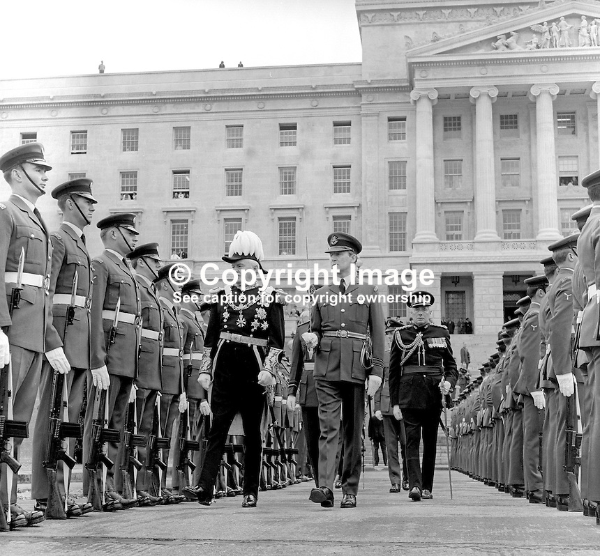 State Opening of the N Ireland Parliament, Stormont, Belfast, 22nd June 1971.  The Governor of N Ireland, Lord Grey of Naunton, reprenting the Queen at the ceremony inspects a Royal Airforce Regiment guard of honour. This was the last State Opening of the N Ireland Parliament as it was suspended with the introduction of Direct Rule. It was subsequently abolished under the Northern Ireland Constitution Act 1973. 197106220270b<br />