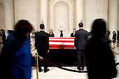 Family and friends attend a private visitation in the Great Hall of the United States Supreme Court where late Supreme Court Justice Antonin Scalia lies in repose in Washington, DC on Friday, February 19, 2016. <br /> Credit: Jacquelyn Martin / Pool via CNP