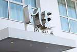 Sign for 'Me by Melia' Reina Victoria hotel,  Barrio de las Letras, Madrid city centre, Spain