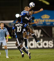 Khari Stephenson of Earthquakes battles for the ball in the air against Aurelien Collin of Kansas City during the game at Buck Shaw Stadium in Santa Clara. California on October 1st, 2011.  San Jose Earthquakes tied Sporting Kansas City, 1-1.