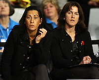 Magic coach Noeline Taurua and manager Belinda Muller-Jack during the ANZ Netball Championship match between the Waikato Bay of Plenty Magic and Adelaide Thunderbirds, Mystery Creek Events Centre, Hamilton, New Zealand on Sunday 19 July 2009. Photo: Dave Lintott / lintottphoto.co.nz